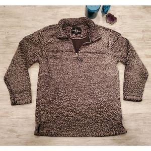 Grey Sherpa 3/4 Zip Sweatshirt